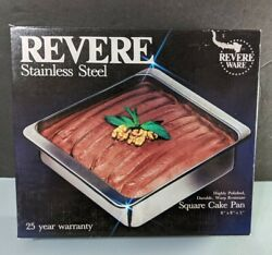 """New Revere Ware 2518 Stainless Steel Cake Square Baking Pan 2 Qt 8"""" X 8"""" X 2"""""""