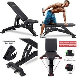 Deracy Deluxe Adjustable Weight Bench For Full Body Workout, Weight Capacity 110