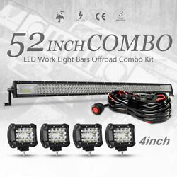 52inch Led Light Bar Black Combo With Pods And Wiring Off Road Boat Suv Truck Lamp