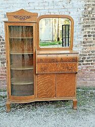 Victorian Antique Tiger Quarter Sawn Oak Sideboard China Cabinet With Claw Feet