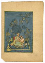 Indian Mughal Painting King And Queen In Love Scene Art Finest Miniature Artwork