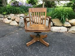 Antique Oak Wood Bankers Chair Desk Chair Swivel Chair Rolling Chair