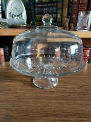 Vintage Pedestal Cake Stand With Heavy Dome Cover And Decorative Cut Glass Plate