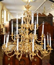 Best Italian Bronze Dore Rococo Style 24 Light Chandelier Made By F.b.a.i