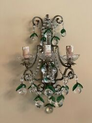 PAIR Antique Crystal Macaroni Beaded Italian Fruit Drops French Wall Sconces