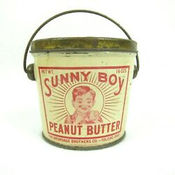Vintage Sunny Boy Peanut Butter Tin Pail With Lid And Bail Handle 16oz Ohio Rare