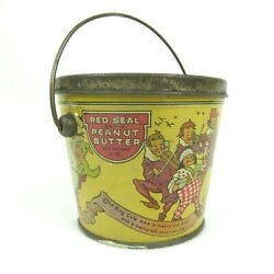 Vintage Red Seal Peanut Butter Pail And Lid Newton Tea And Spice Nursery Rhymes Rare
