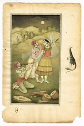 Indian Mughal Miniature Painting Of Dancing Girl With Musician - Gouache Artwork