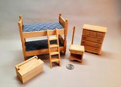 Dollhouse Miniature - Childrens' Bedroom Set With Bunk Bed,
