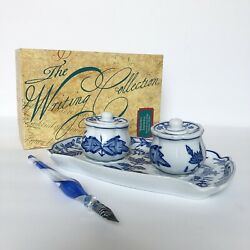 Meissen Blue And White Porcelain Inkwells Calligraphy Set With Glass Pen | Vtg