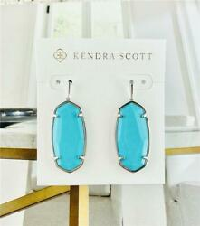 New Kendra Scott Elle Faceted Turquoise Silver Tone Earrings