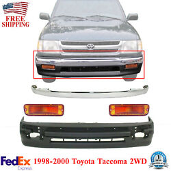 Front Bumper Chrome Trim + Lower Cover + Signal Light For 98-00 Tacoma 2wd 4pcs