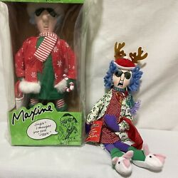 Lot Of 2 Hallmark Maxine Holiday Christmas Dolls - Dancing And Stressed In Style