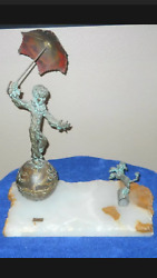 Rare Bijan Studio On Top Of The World Patinated Bronze - Marble Base - Signed