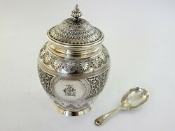 Good Looking Silver Tea Caddy And Spoon London 1872 By Barnards Fine Quality