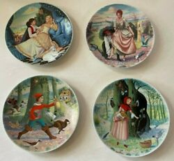 Limoges Perrault Fairy Tales Collector Plates By Quellier Set Of 4 Boxed Coa Vtg