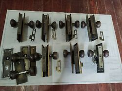 7 Reclaimed Vtg Antique Doorknobs And Lock Sets, Arts And Crafts. Steel. As Found.