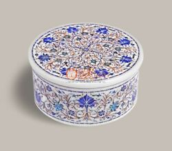 Marble Jewelry Lidded Box Lapis Super Fine Floral Design Gift For Her Decor Arts