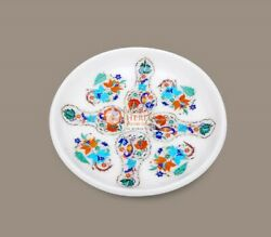 Kitchen Andng Dining White Marble Fruit Bowl Semi Precious Hand Carving Gifts Her