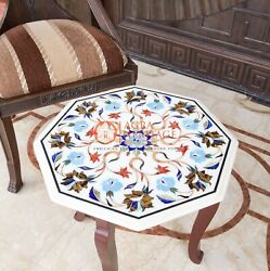 Antique Marble Top Table With Stand Turquoise Inlay Italian Design Bedroom Decor