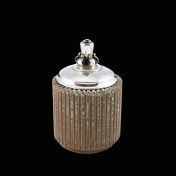 Arne Bang 1901 - 1983. Fluted Stoneware Jar With Silver Lid.