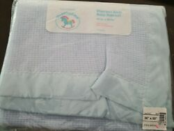 Toddlertime Vtg Baby Blue Satin Trim Waffle Weave Thermal Baby Blanket Acrylic