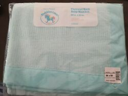 Toddlertime Vtg Blue Green Satin Trim Waffle Weave Thermal Baby Blanket Acrylic