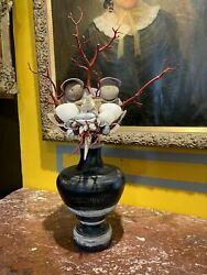 Italian Baroque Curiosity Cabinet Style Rare Face Mask With Sea Shells On Wood
