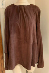 Brunello Cucinelli Suede Leather Ls Shirt Blouse Tunic Top Brown Nwt Sz 50 L/xlg