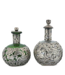 A Pair Of Antique Chinese Silver-mounted Glass Perfume Bottles.