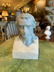 Early 20th Century White Parian Porcelain Classical Bust Of German Poet Schiller