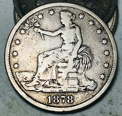 1878 S Trade Dollar One Seated 1 Ungraded Circulated 90 Silver Us Coin Cc8007