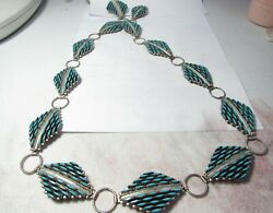 Native American Zuni Labor Intense Turquoise 36 Sterling Belt By N. Harry