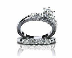 1.75 Ct Round Simulated Diamond 14k White Solid Gold Solitaire Wedding Ring Sets