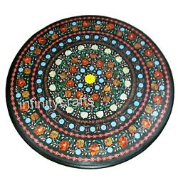 36 Inches Marble Dining Table Top Inlay Floral Pattern Hallway Table For Home