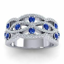 2.20ct Natural Round Diamond 14k Solid White Gold Sapphire Wedding Band Ring