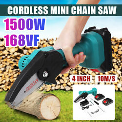 1500w Cordless Electric Pruning Chain Saw Protable Mini Chainsaw W/2 Batteries