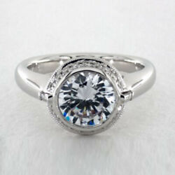 Solitaire Round Cut 0.93 Ct Real Diamond Wedding Rings 14k White Gold Size 7 8 9