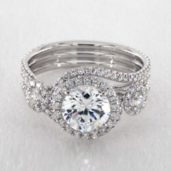 14k Solid White Gold Brilliant Cut 1.70 Ct Real Diamond Engagement Ring Size 6 7