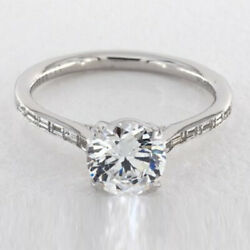 Solid 950 Platinum Round 1.17 Ct Real Diamond Bridal Wedding Ring Size Selective