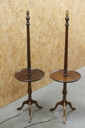 Pair Of Antique Queen Anne Mahogany Table Top Standard Lamps [ 6460 ]