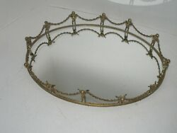 Antique Victorian Mirror Ornate Vanity Tray Brass Angel Figurines And Chains Rare
