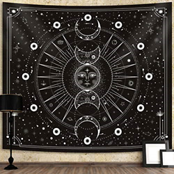 Sun Moon Tapestry Wall Hanging Stars Space Psychedelic Black and White Wall for