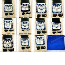 Hand Embroidery Officer Lodge Apron Blue House 11 Pcs-hse