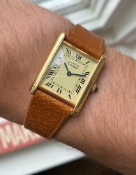 Vintage Tank Manual Wind Lemon Roman Numeral Dial Electroplated Watch