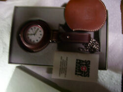 Marlboro Swiss Army Menand039s Pocket Watch Rare With Leather Case New Battery