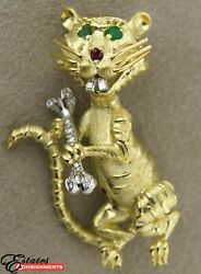 Vintage Cat/mouse 18k Yellow Gold, Diamond, Emerald And Ruby Brooch Pendant