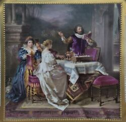 19th Century Royal Vienna Style German Hand Painted Porcelain Plate Tray Charger