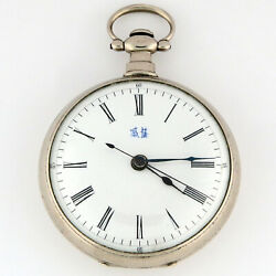 Bovet Chinese Caliber Duplex Pocket Watch 55mm Silver 3x Signed Bovet Dial