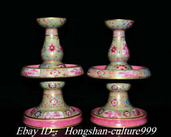 Old China Dyansty Enamel Color Porcelain Oil Lamp Candlestick Candle Stick Pair